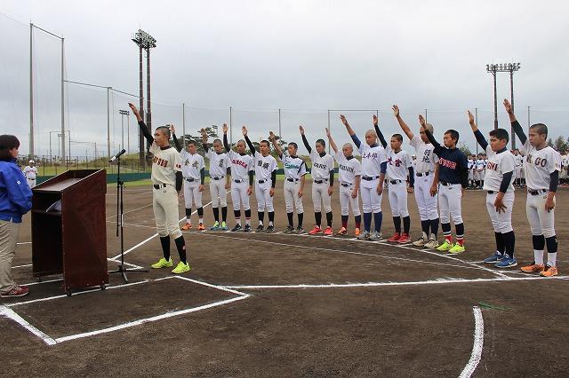 """""""冲绳YUGAF INN酒店杯子争夺国头地区中学棒球大会""""开始了。"""